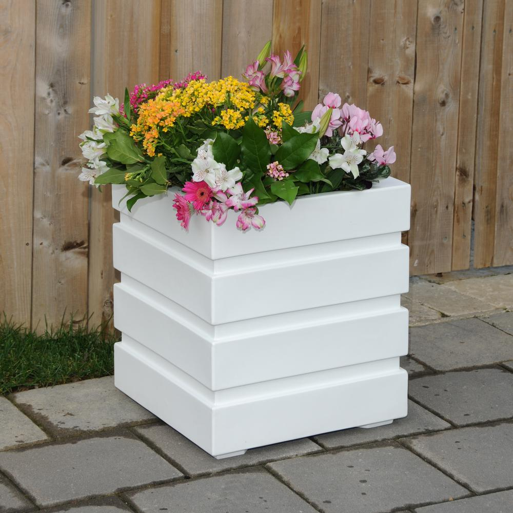Mayne plant pots planters the home depot square white plastic planter mightylinksfo