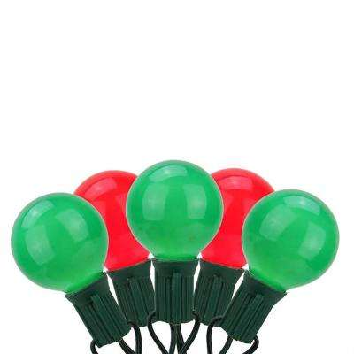 20-Light Red and Green Opaque G50 Globe Christmas Light Set with 19 ft. Green Wire