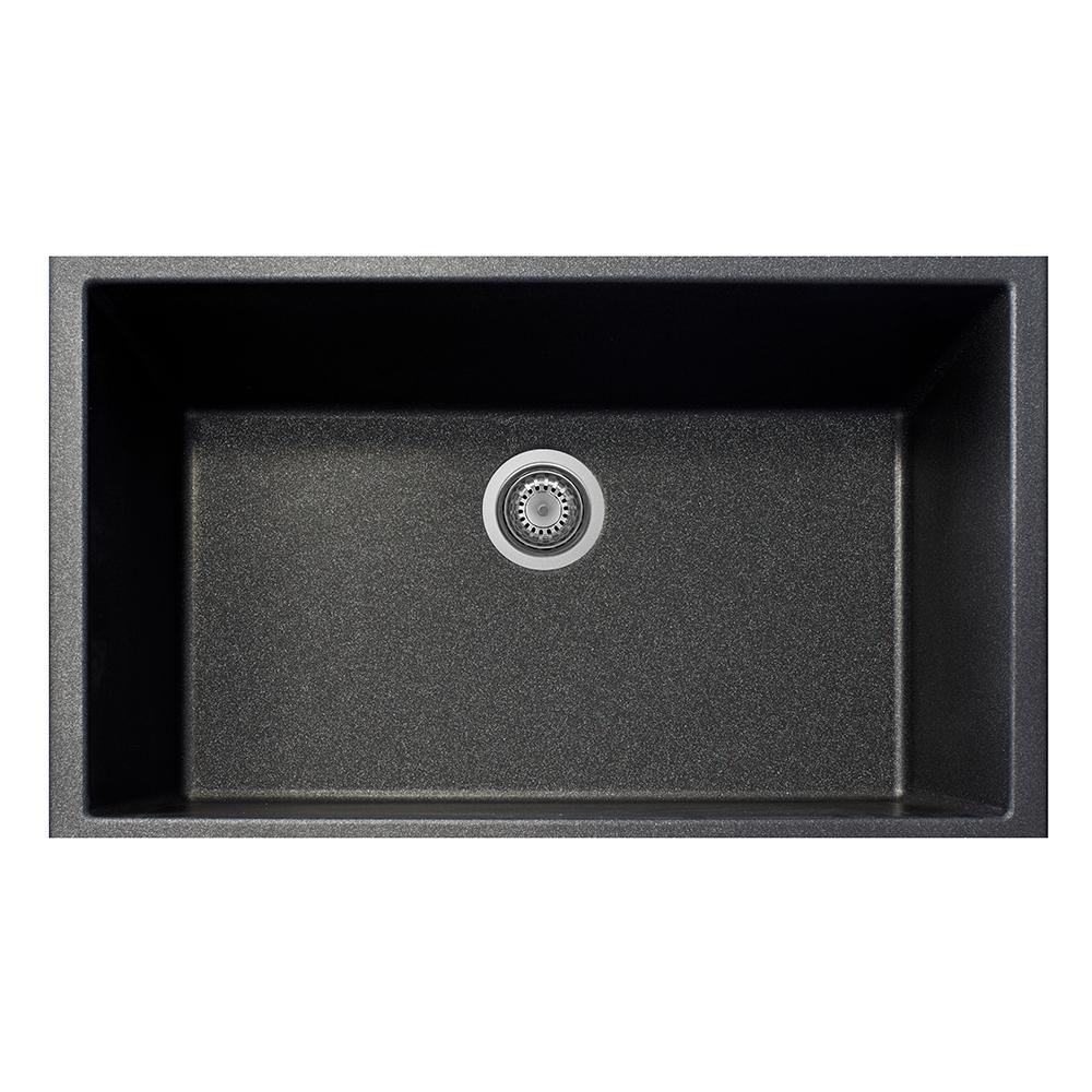 One Drop-in Granite Composite 22 in. 1-Hole Single Basin Kitchen Sink in Black Metallic