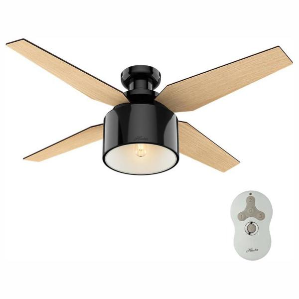 Hunter Cranbrook 52 In Led Low Profile Indoor Gloss Black Ceiling Fan With Remote 59259 The Home Depot