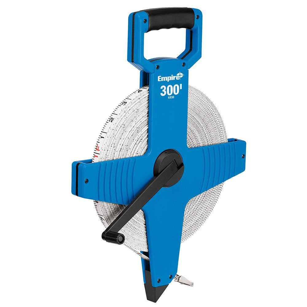 Empire 300 ft Ergonomic Durable Standard Open Reel Fiberglass Tape Measure