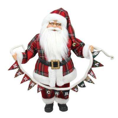 18 in. Santa Claus Holding a Merry Christmas Banner Tabletop Decoration