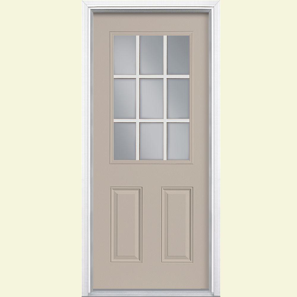 Masonite 32 in. x 80 in. 9-Lite Right-Hand Inswing Canyon View Painted Steel Prehung Front Door with Brickmold