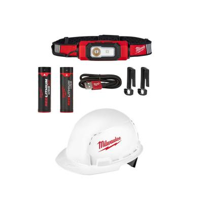 600 Lumens LED USB Rechargeable 360-Degree Hard Hat Headlamp and BOLT Front Brim Hard Hat w/ Bonus USB 3.0 Ah Battery