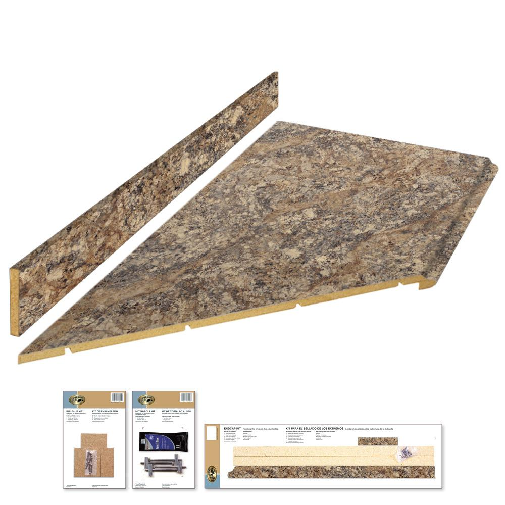 Hampton Bay 8 Ft Laminate Countertop Kit With Left Miter In Winter Carnival Granite With Valencia Edge 12337kt08l1874 The Home Depot