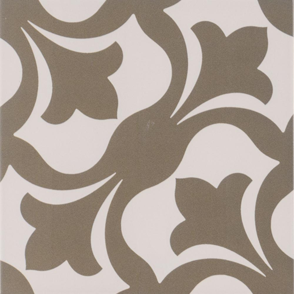 Menza Gray Encaustic 8 in. x 8 in. Glazed Porcelain Floor and Wall ...