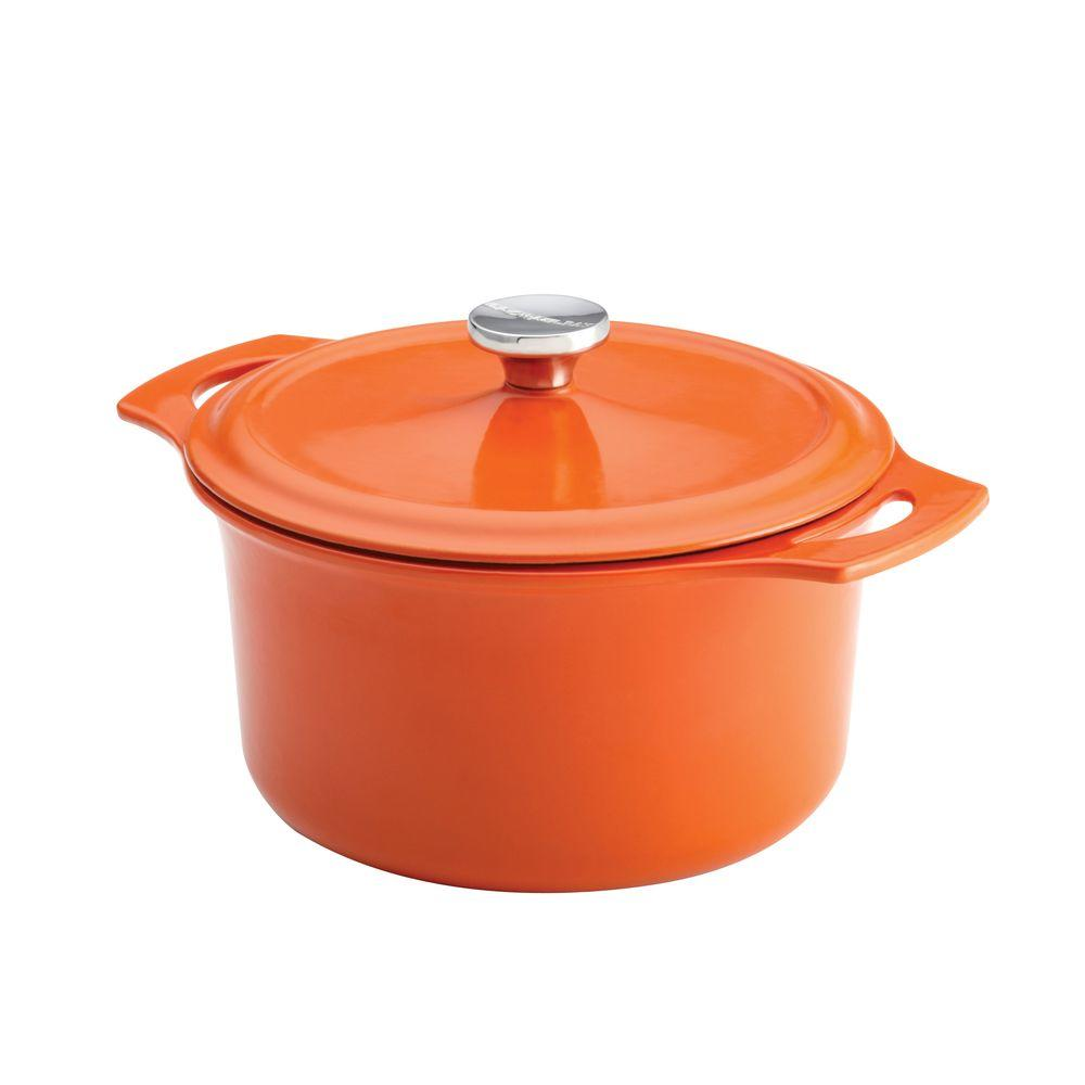 Rachael Ray Cast Iron 5 qt. Round Covered Casserole in Orange