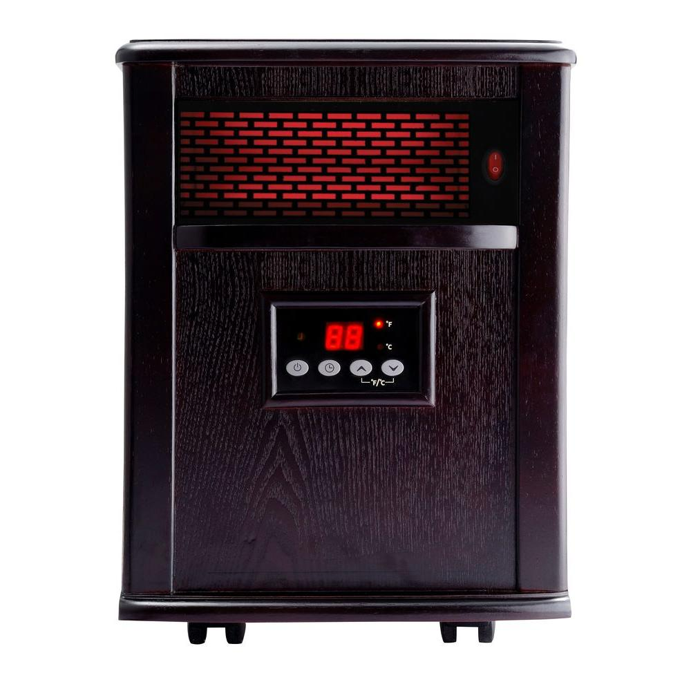 American Comfort 1500-Watt Solid Wood Infrared Electric Portable Heater in Solid wood construction - Espresso