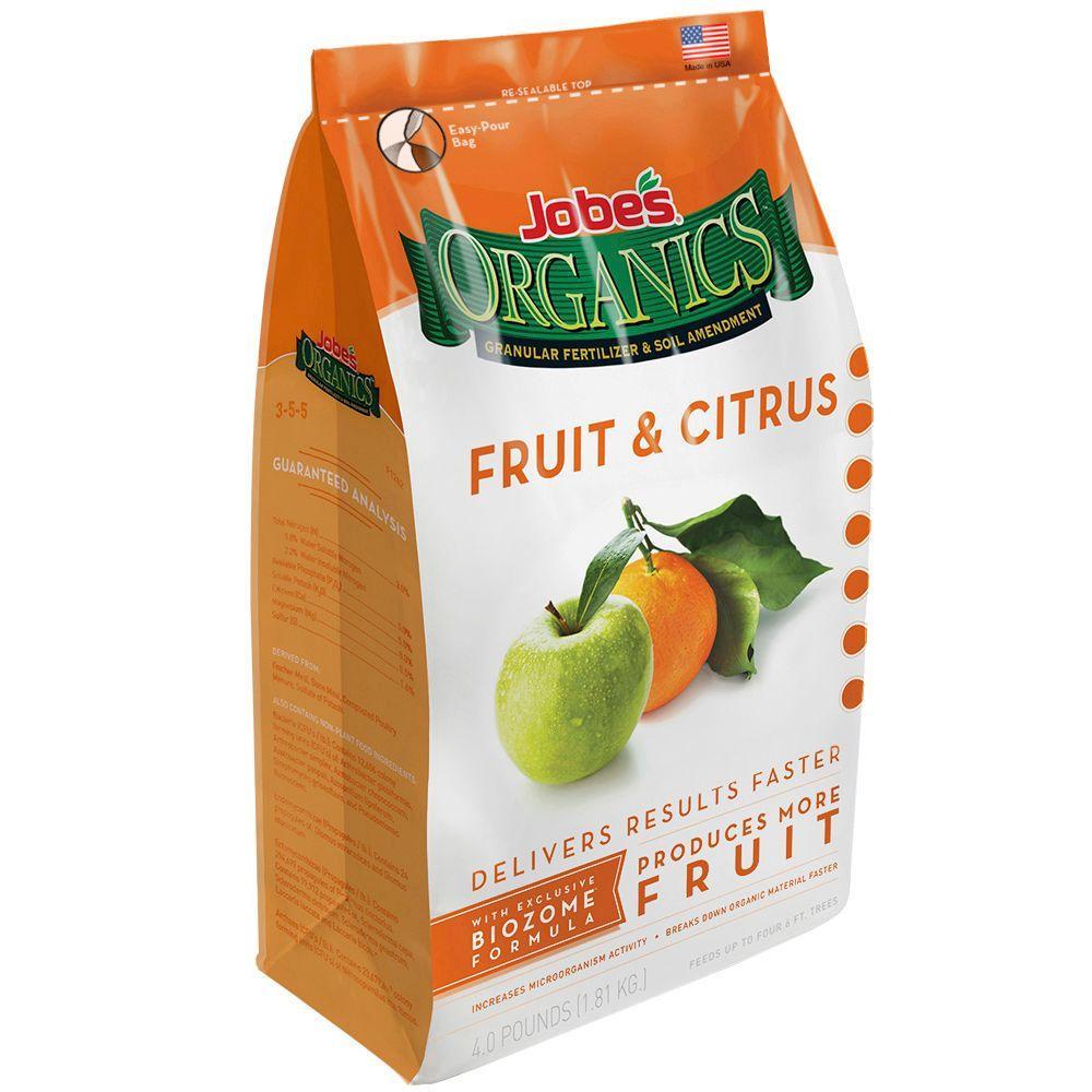 Jobe's Organics 4 lb. Organic Granular Fruit and Citrus Fertilizer with Biozome, OMRI Listed