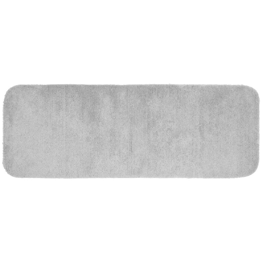 Garland Rug Glamor Platinum Gray 22 in. x 60 in. Washable Bathroom Accent Rug
