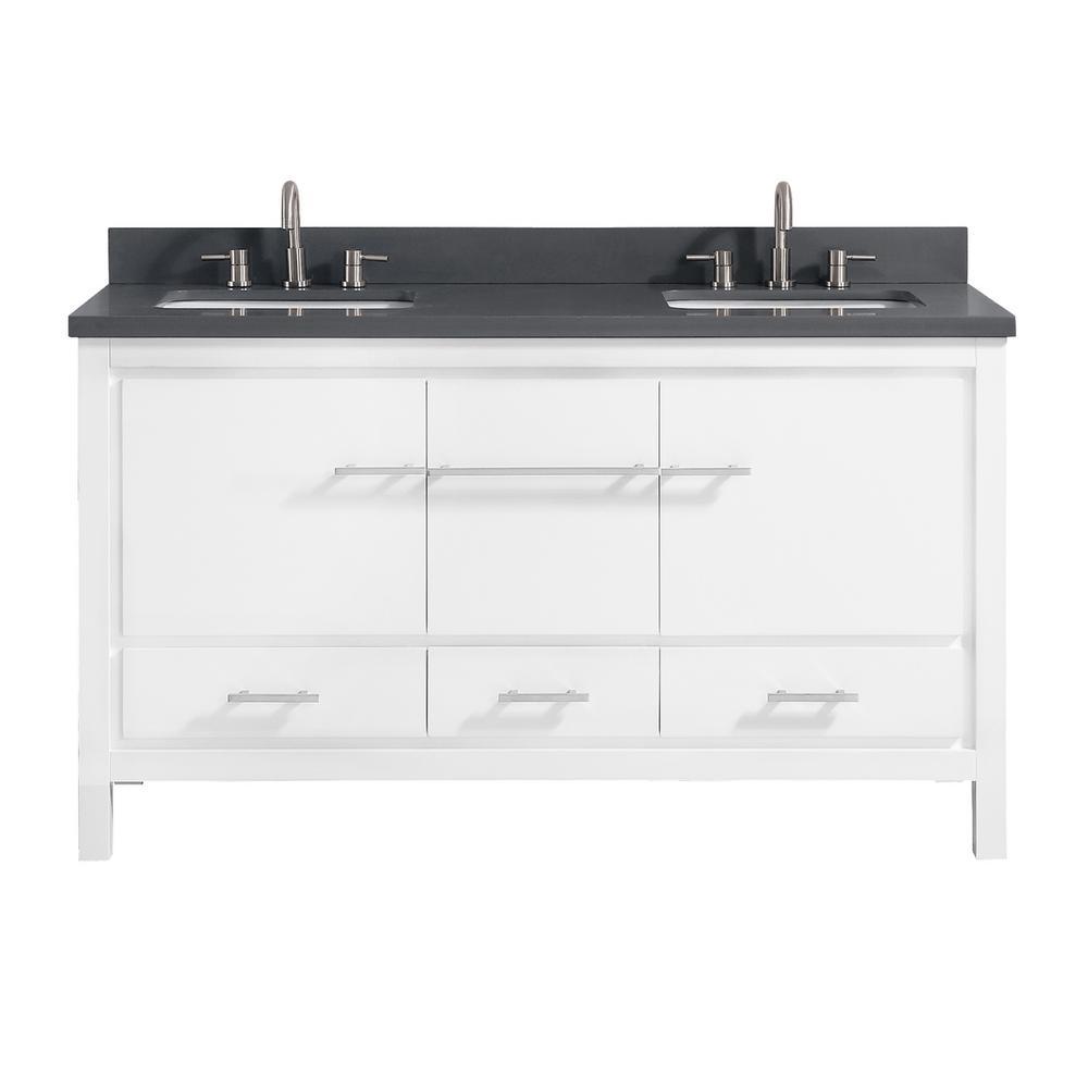 Riley 61 in. W x 22 in. D x 34.8 in. H Bath Vanity in White with Quartz Vanity Top in Gray with Basins