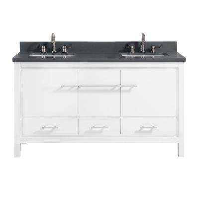 Riley 61 in. W x 22 in. D x 34.8 in. H Bath Vanity in White with Quartz Vanity Top in Gray with Basins