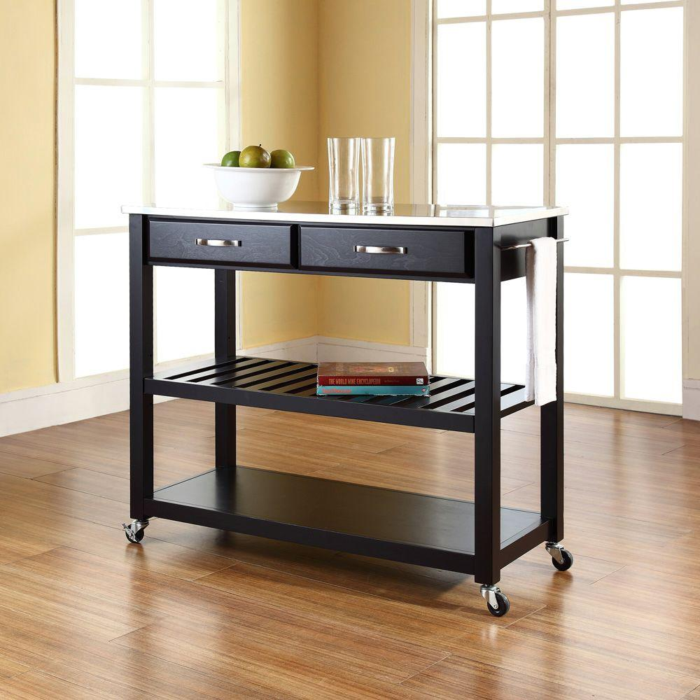 Crosley Black Kitchen Cart With Stainless Steel Top-KF30052BK - The