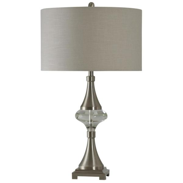 32 in. Brushed Steel Table Lamp with White Hardback Fabric Shade