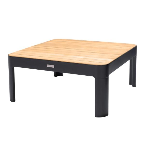 Portals Outdoor Square Coffee Table in Black Finish with Natural Teak Wood Top