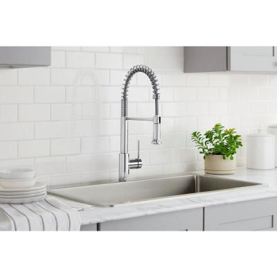 Lemist Single-Handle Coil Springneck Pull-Down Sprayer Kitchen Faucet in Chrome