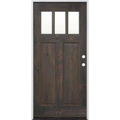 36 in. x 80 in. Craftsman Stained Ash Alder Left Hand Inswing Wood Prehung Front Door with 6 Wall Series