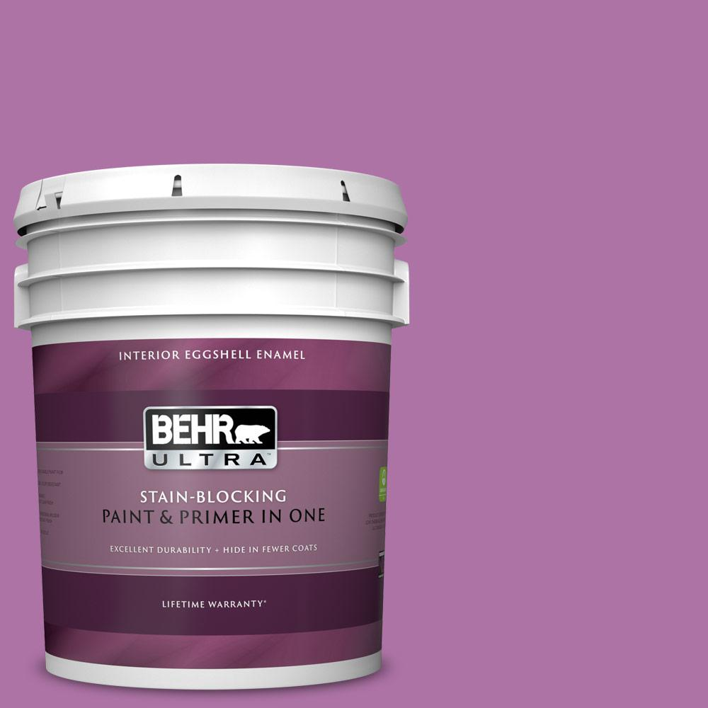 Behr Ultra 5 Gal 670b 6 Orchid Kiss Eggshell Enamel Interior Paint And Primer In One 275305 The Home Depot