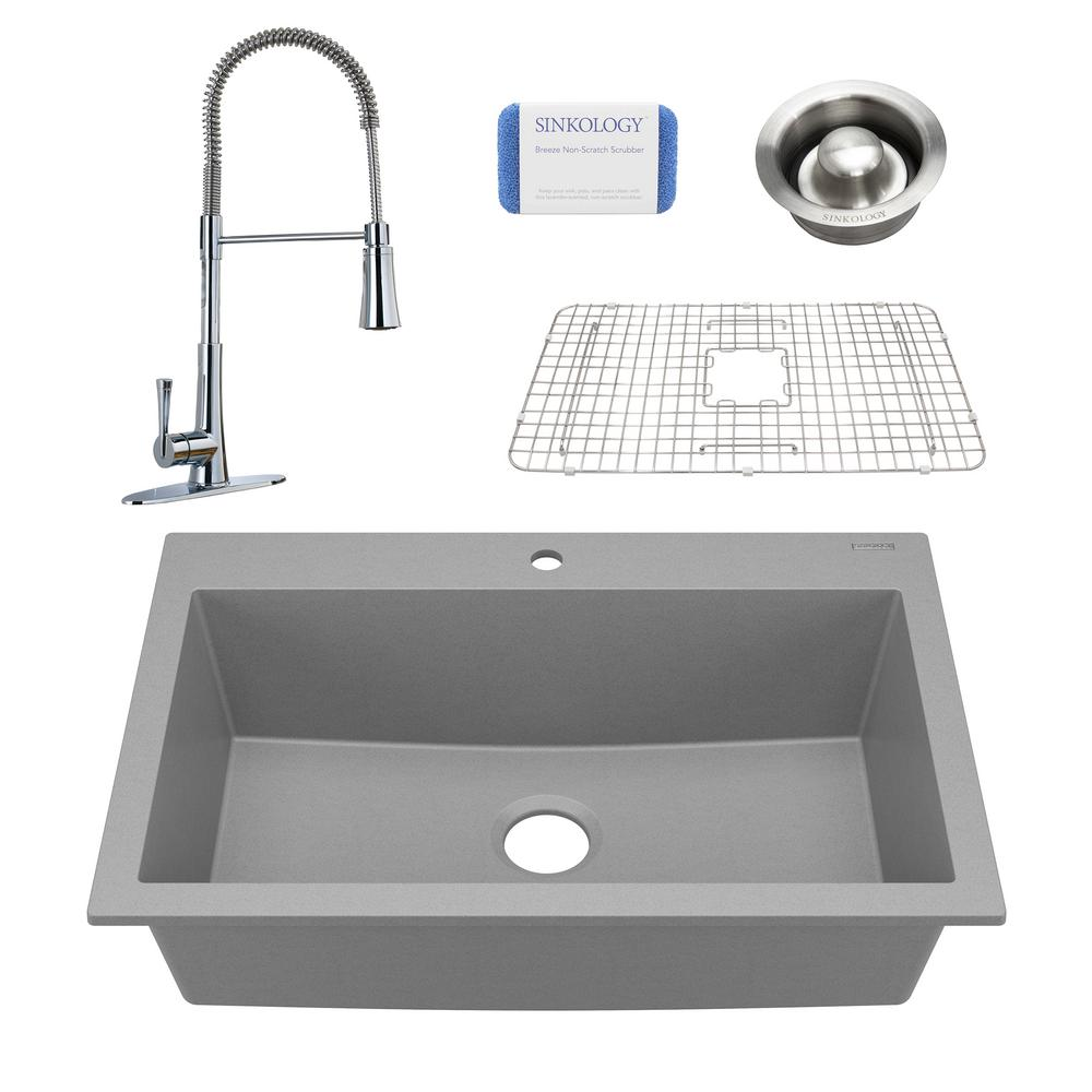 SINKOLOGY Camille All-in-One Drop-In Granite Composite 33 in. Single Bowl Kitchen Sink with Pfister Faucet in Matte Graphite Gray