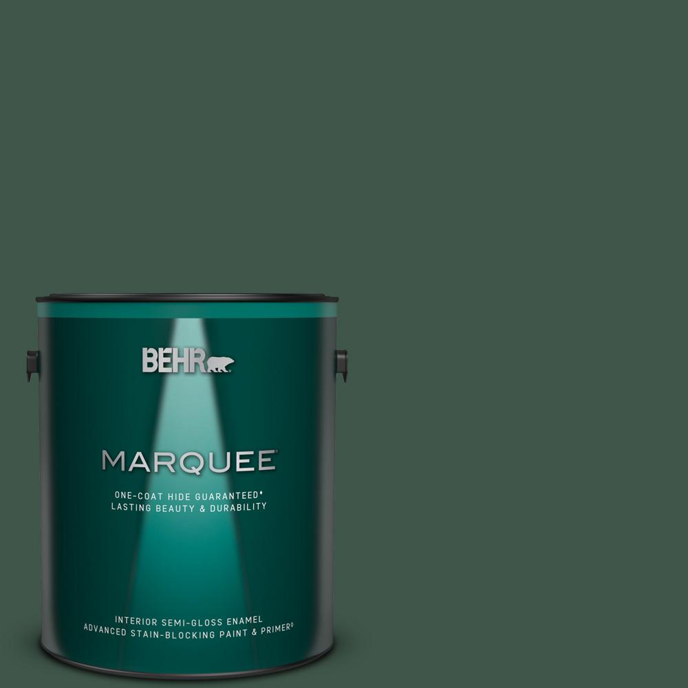 Behr Marquee 1 Gal 470f 7 Deep Jungle Semi Gloss Enamel Interior Paint And Primer In One 345301 The Home Depot