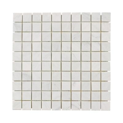 Carrara White 11.75 in. x 11.75 in. Honed Marble Wall and Floor Mosaic Tile (0.958 sq. ft./Each)