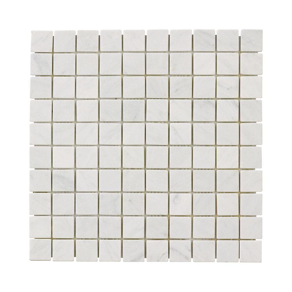 Jeffrey Court Carrara White 11.75 in. x 11.75 in. x 10 mm Marble Mosaic Floor/Wall Tile