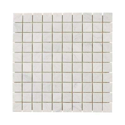 Carrara White 11.75 in. x 11.75 in. x 10 mm Marble Mosaic Floor/Wall Tile