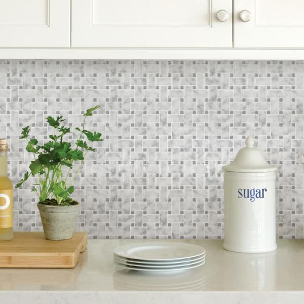 Inhome Basketweave 10 In X 10 In Off White Carrara Peel And Stick Backsplash Tiles Nh2957 The Home Depot