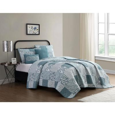 Ziva 4-Piece Teal/White Twin Animal Printed Patchwork Quilt Set