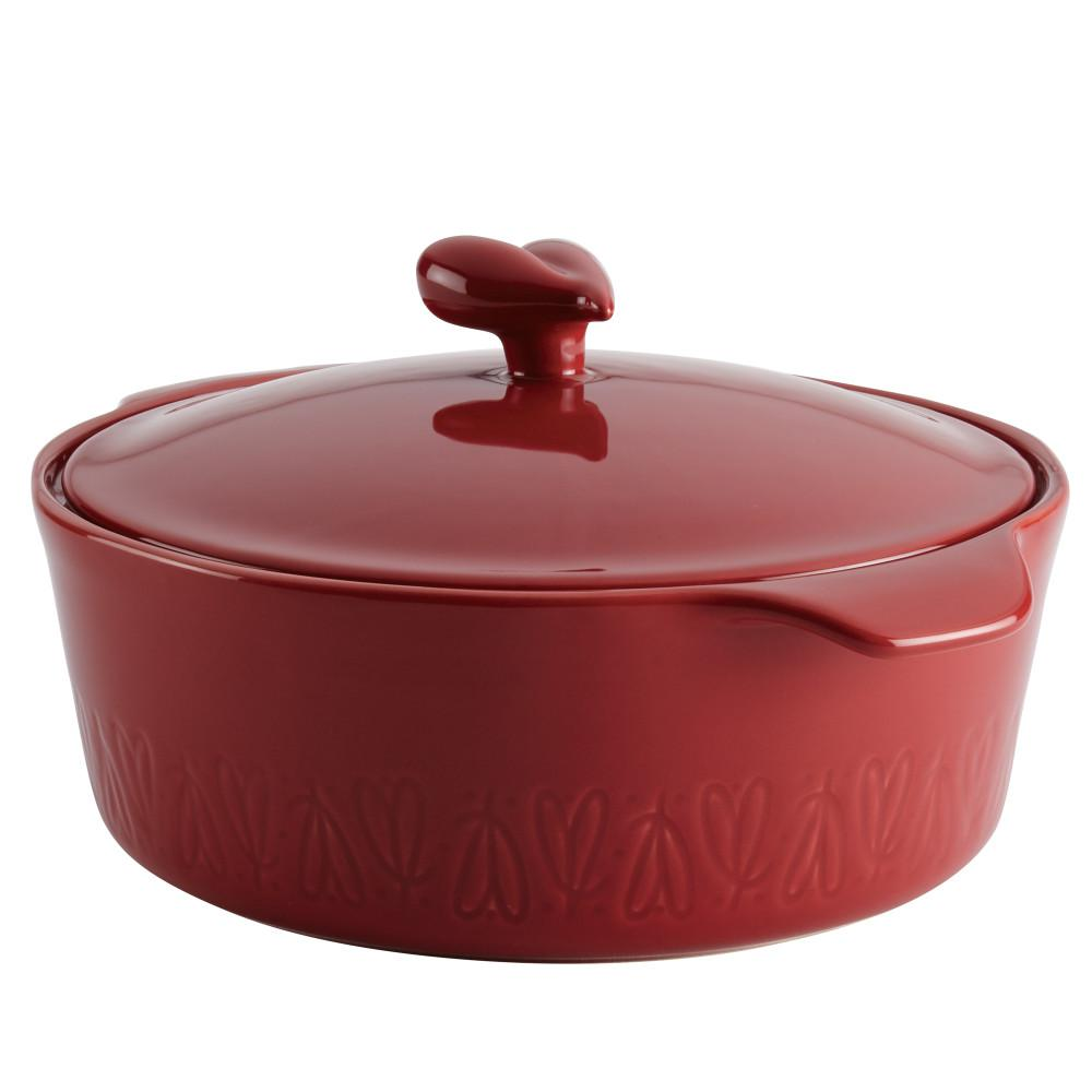 Home Collection 2.5 Qt. Sienna Red Ceramic Round Casserole