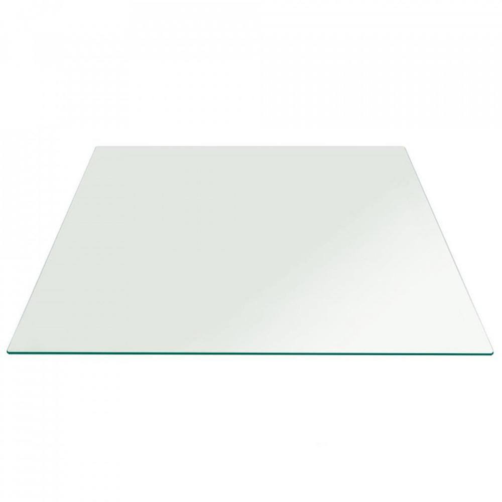 24 in. Clear Square Glass Table Top 1/2 in. Thick Flat