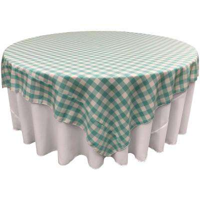 """72 in. x 72 in. White and Mint Polyester Gingham Checkered Square Tablecloth"""