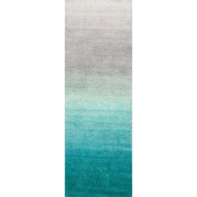 Ombre Shag Turquoise 2 ft. 6 in. x 10 ft. Runner Rug