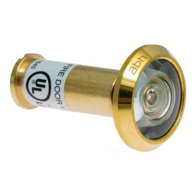 190-Degree Bright Brass Door Viewer with Glass Lenses
