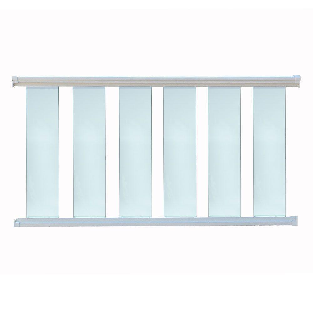 96 in. x 36 in. White Aluminum Frame Glass Baluster Railing Kit