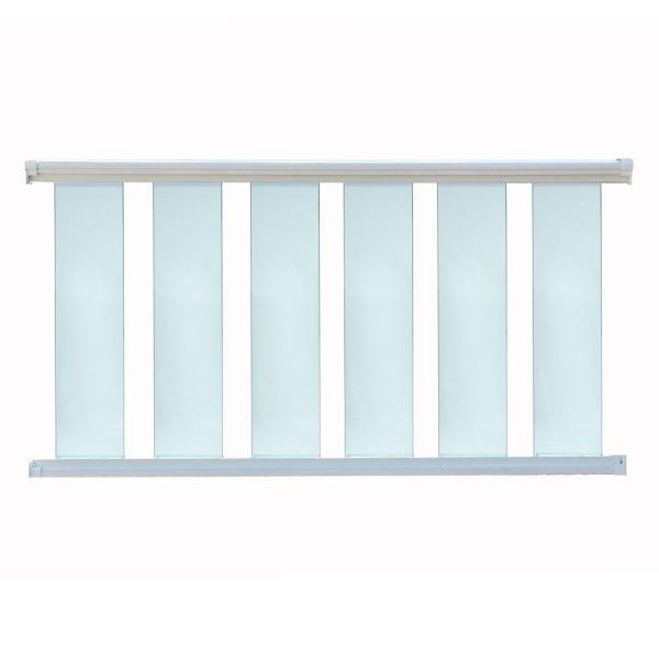 96 in. x 36 in. White Aluminum Frame Glass Baluster Railing Kit