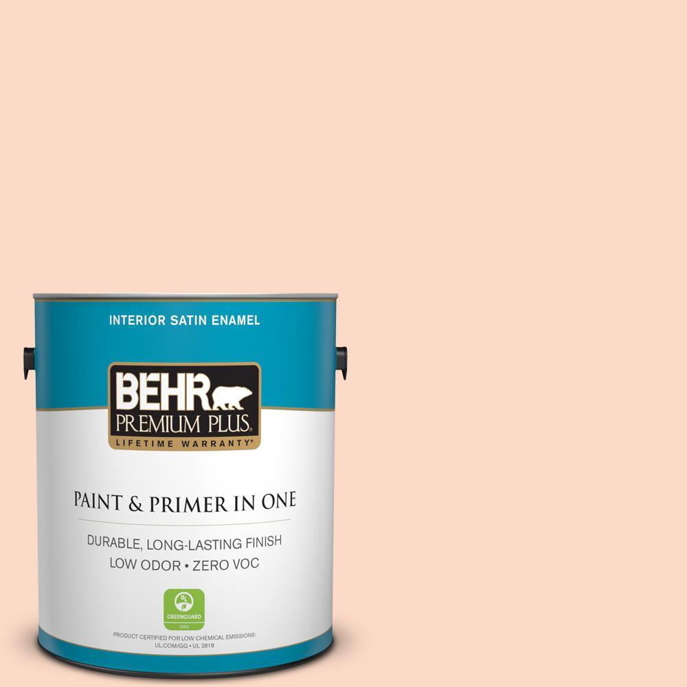 BEHR Premium Plus 1-gal. #250C-2 Sugared Peach Zero VOC Satin Enamel Interior Paint
