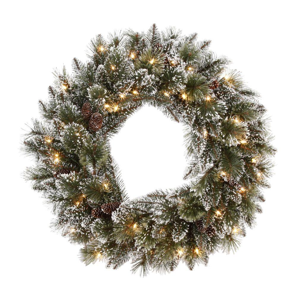 Martha Stewart Living 30 in. Sparkling Pine Artificial Wreath with 50 Clear Lights