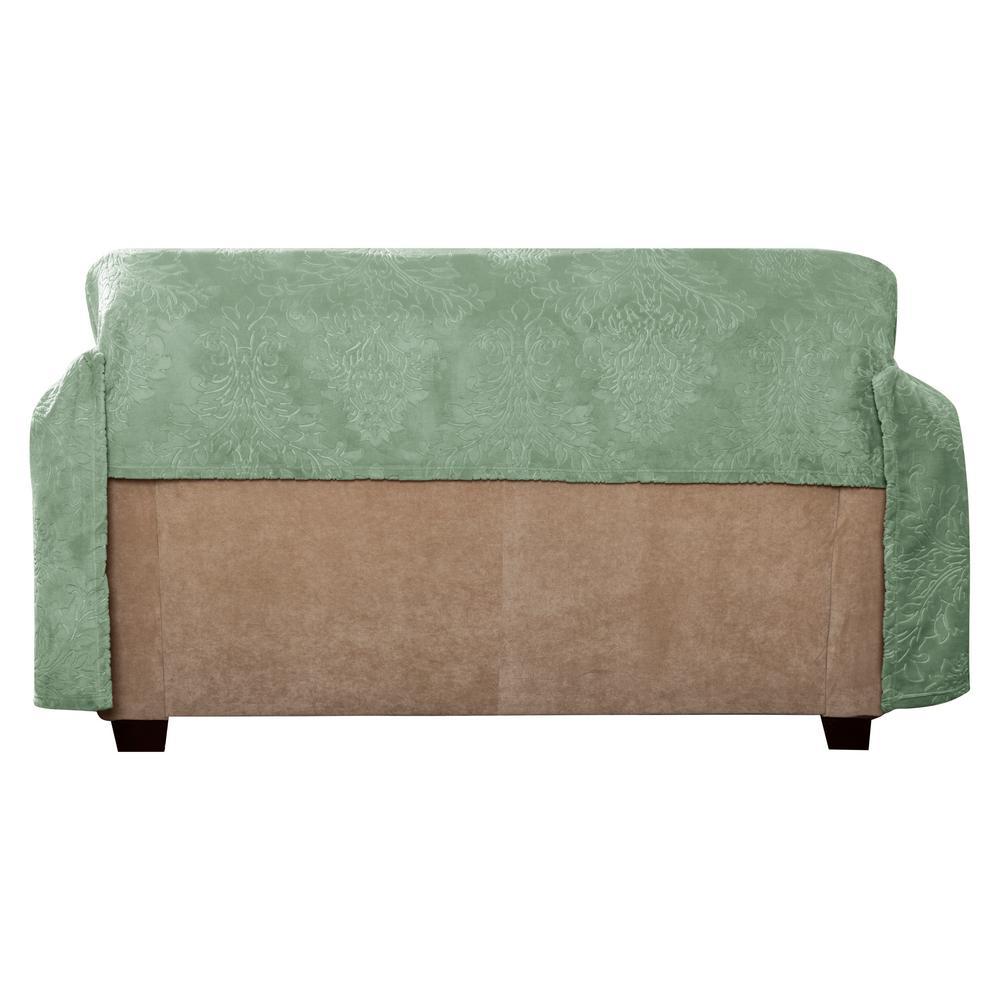 Plush Sage Damask Throw Sofa Slipcover