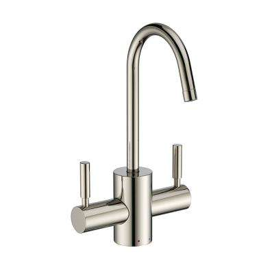 Dual Handle Instant Hot and Cold Water Dispenser with Contemporary Spout and Self Closing Handle in Polished Nickel