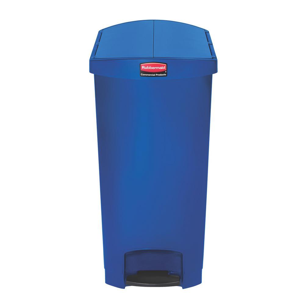 Slim Jim Step-On 24 Gal. Blue Plastic End Step Trash Can