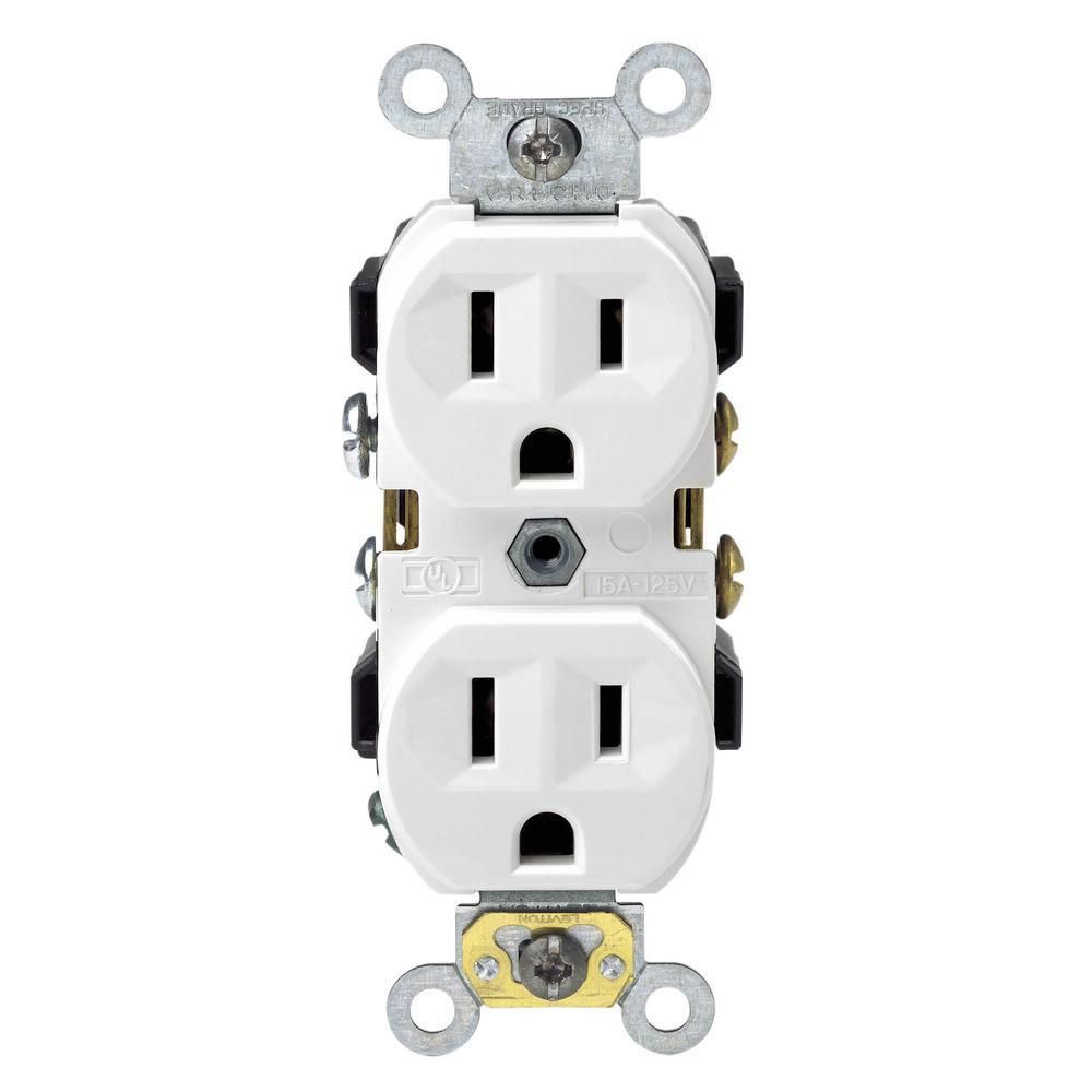 15 Amp Commercial Grade Duplex Outlet, White