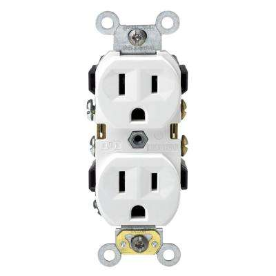 15 Amp Commercial Grade Duplex Outlet, White
