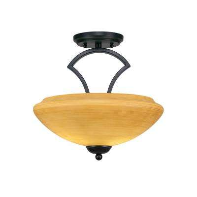 2-Light Matte Black Semi-Flush Mount