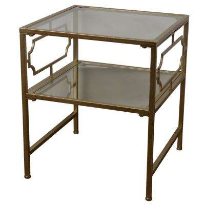 Gold Glass Shelve End Table