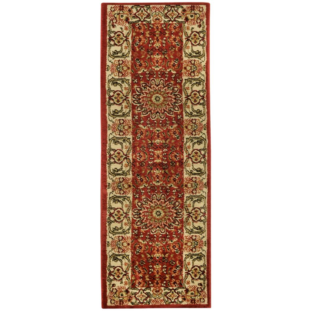 MAXY HOME Pasha Collection Red 2 ft. x 7 ft. Runner Rug
