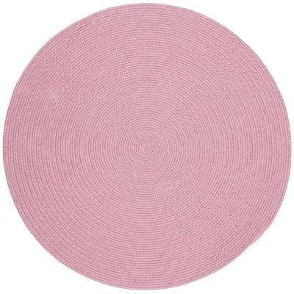 Joy Braids Solid Pink 4 ft. x 4 ft. Round Indoor/Outdoor Braided Area Rug