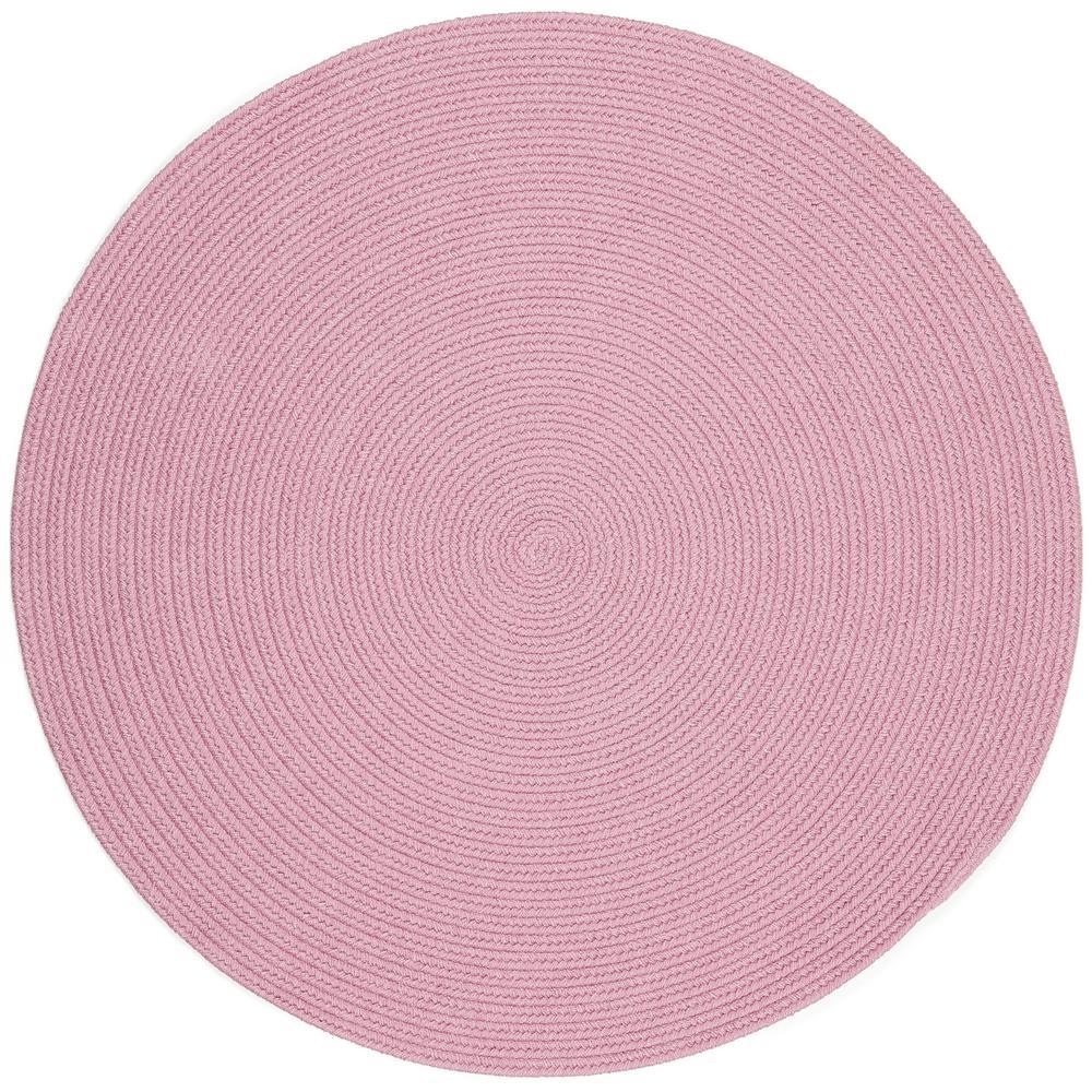 Joy Braids Solid Pink 6 ft. x 6 ft. Round Indoor/Outdoor Braided Area Rug