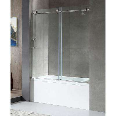 Don Series 59 in. x 62 in. Frameless Sliding Tub Door in Polished Chrome with Handle