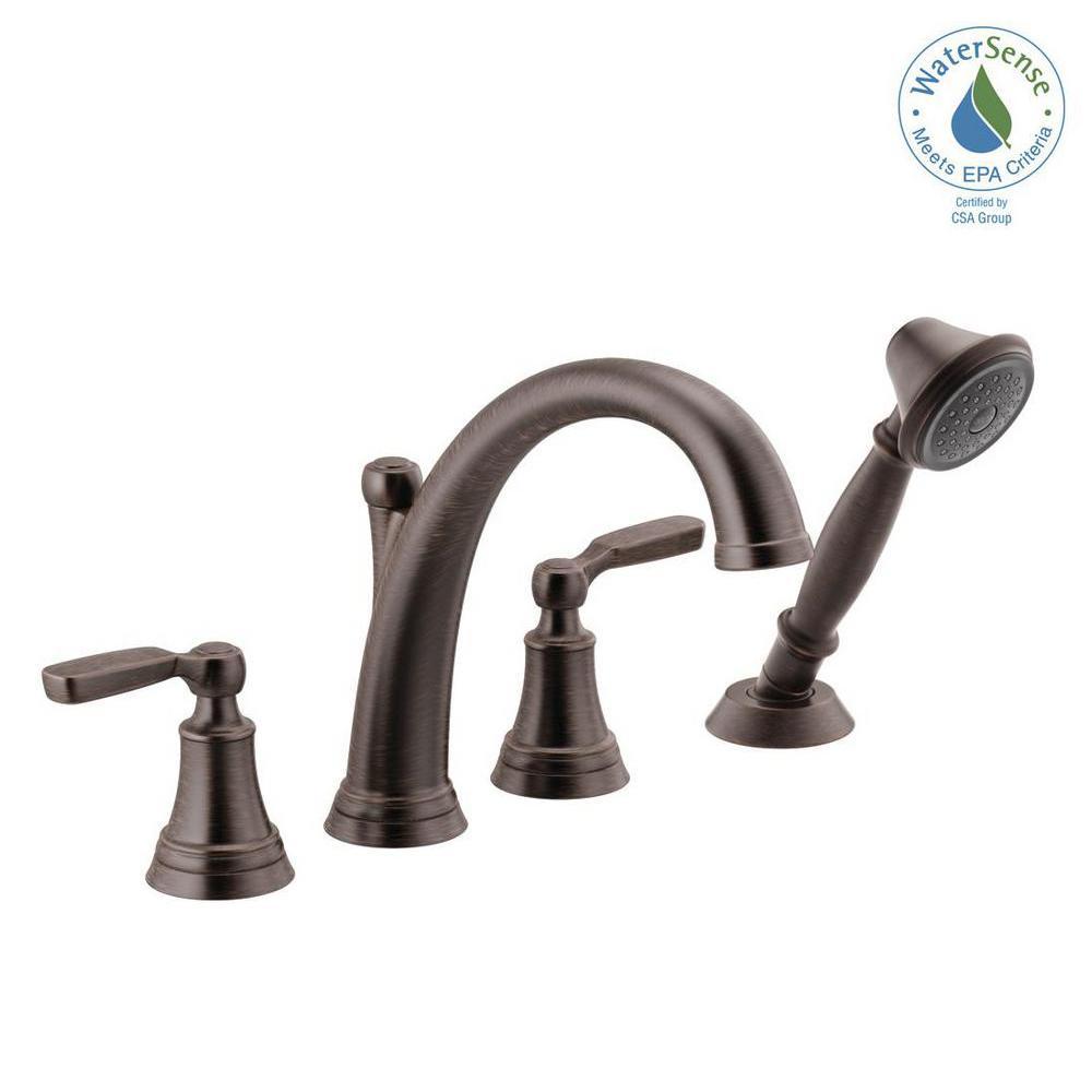 Woodhurst 2-Handle Deck Mount Roman Tub Trim Kit with Hand Shower in Venetian Bronze (Valve Not Included)